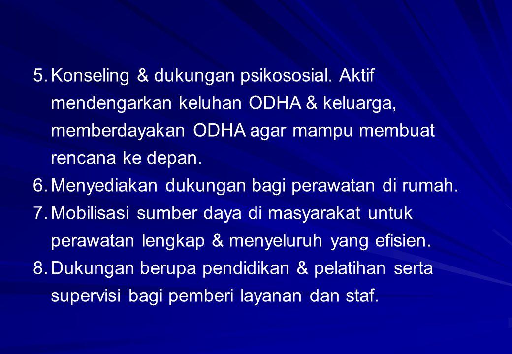 5.Konseling & dukungan psikososial. Aktif mendengarkan keluhan ODHA & keluarga, memberdayakan ODHA agar mampu membuat rencana ke depan. 6.Menyediakan