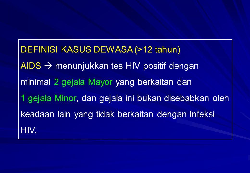 DEFINISI KASUS DEWASA (>12 tahun) AIDS  menunjukkan tes HIV positif dengan minimal 2 gejala Mayor yang berkaitan dan 1 gejala Minor, dan gejala ini b