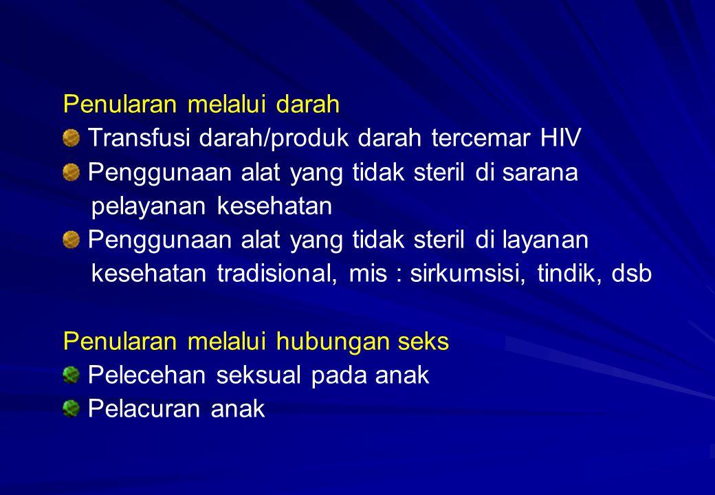 Penurunan berat badan Diare Kronik Gagal Tumbuh Kembang Kandidiasis Orofaringeal yang sering kambuh dan biasanya merupakan tanda yang muncul pertama pada infeksi HIV Demam
