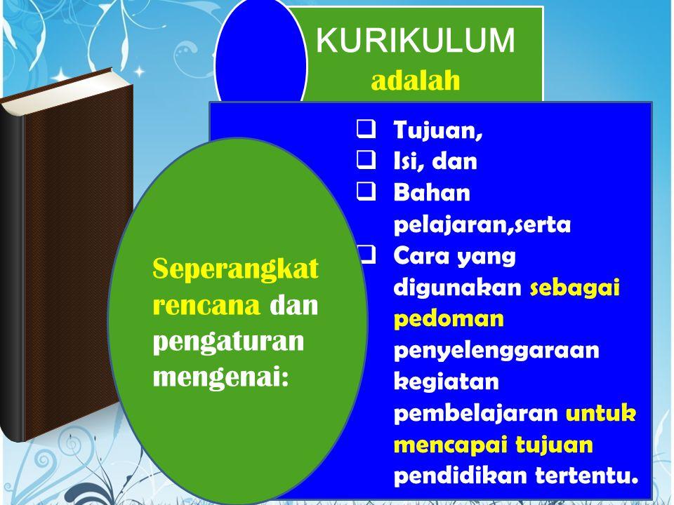 KURIKULUM adalah  Tujuan,  Isi, dan  Bahan pelajaran,serta  Cara yang digunakan sebagai pedoman penyelenggaraan kegiatan pembelajaran untuk mencap
