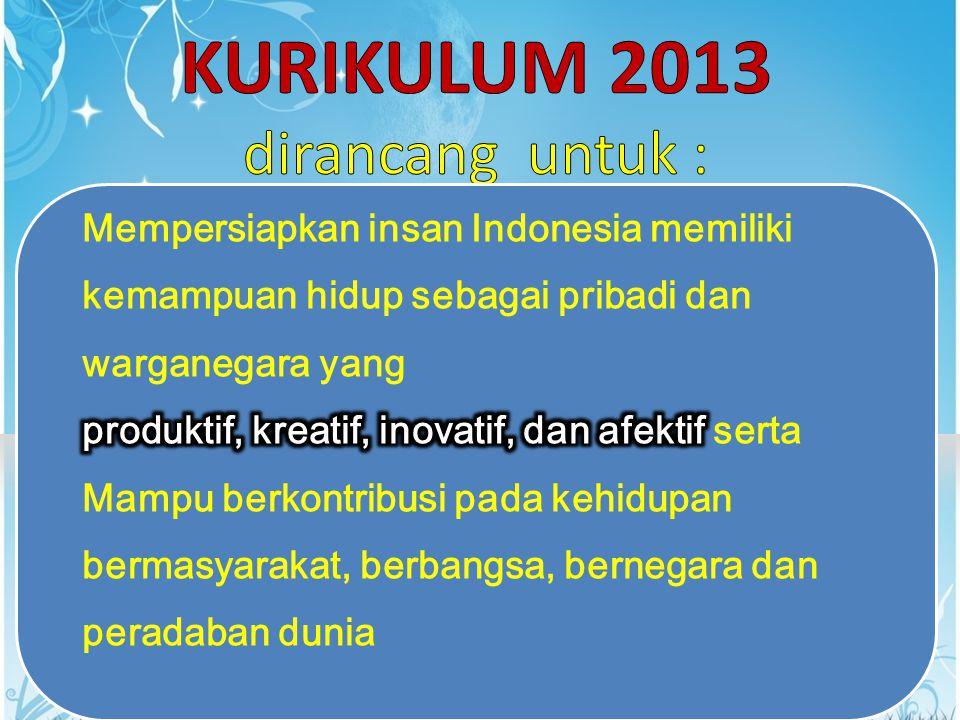 KTSP 2006Kurikulum 2013Ket Tematik untuk kelas I – III [belum integratif] Tematik Integratif untuk Kelas I – VISD TIK adalah mata pelajaran sendiri TIK merupakan sarana pembelajaran, dipergunakan sebagai media pembelajaran mata pelajaran lain SMP Bahasa Indonesia sebagai pengetahuan Bahasa Indonesia sebagai alat komunikasi dan carrier of knowledge SMP/ SMA/SM K Untuk SMA, ada penjurusan sejak kelas XI Tidak ada penjurusan di SMA.