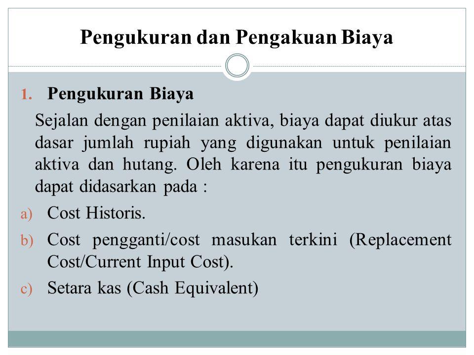Pengukuran dan Pengakuan Biaya 1. Pengukuran Biaya Sejalan dengan penilaian aktiva, biaya dapat diukur atas dasar jumlah rupiah yang digunakan untuk p