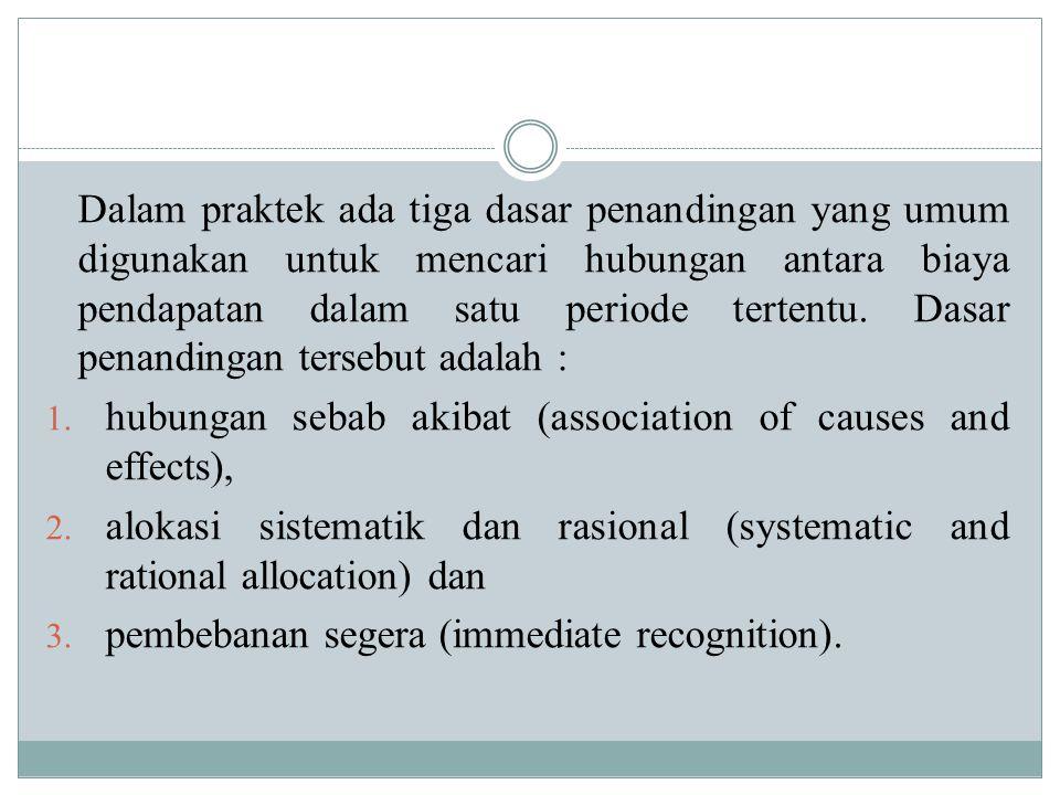 Alokasi Sistematis Dan Rasional Alokasi sistematik dan rasional sering disebut dengan dasar penandingan periodik (period matching) atau penandingan tidak langsung (inderict matching).