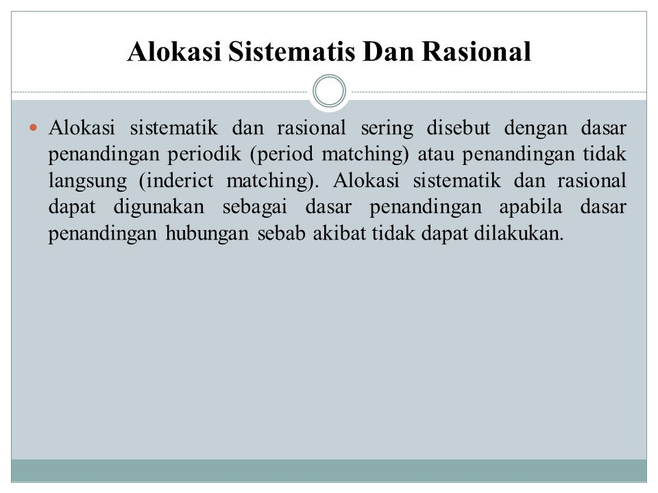 Meskipun dapat menimbulkan masalah, alokasi sistematis tetap dapat digunakan sebagai dasar penandingan.