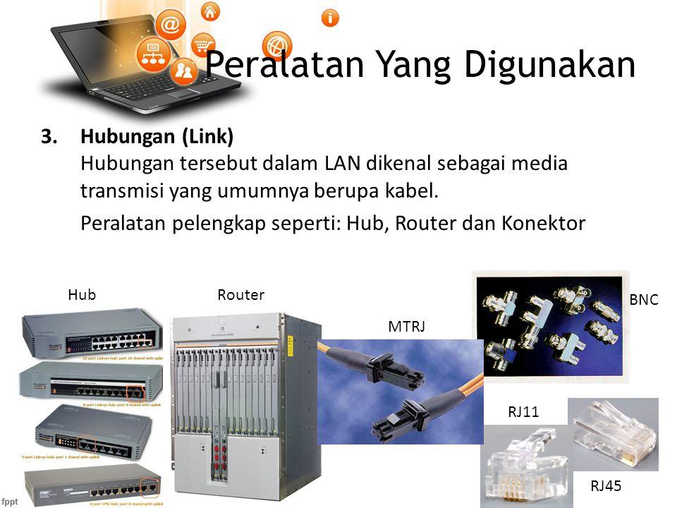 Peralatan Yang Digunakan 3.Hubungan (Link) Hubungan tersebut dalam LAN dikenal sebagai media transmisi yang umumnya berupa kabel.