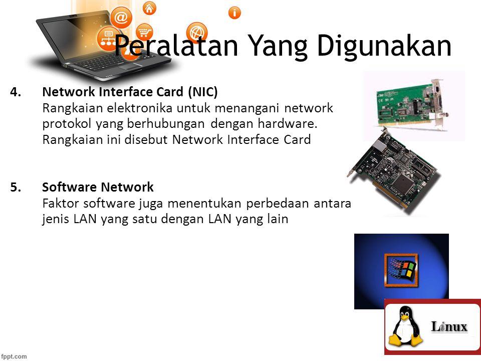 Peralatan Yang Digunakan 4.Network Interface Card (NIC) Rangkaian elektronika untuk menangani network protokol yang berhubungan dengan hardware.
