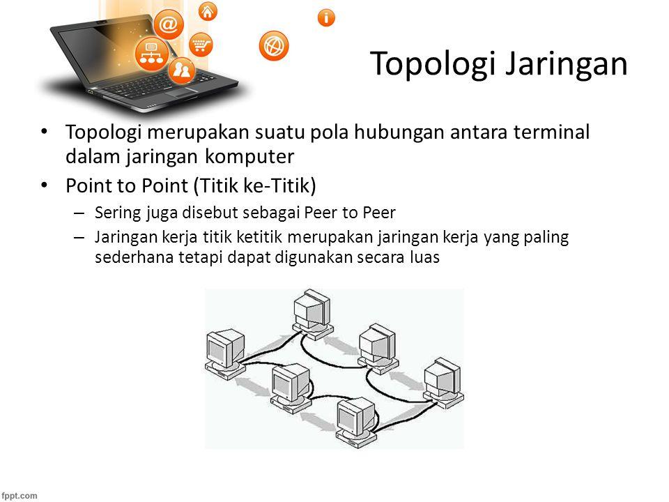 Topologi Jaringan Topologi merupakan suatu pola hubungan antara terminal dalam jaringan komputer Point to Point (Titik ke-Titik) – Sering juga disebut sebagai Peer to Peer – Jaringan kerja titik ketitik merupakan jaringan kerja yang paling sederhana tetapi dapat digunakan secara luas