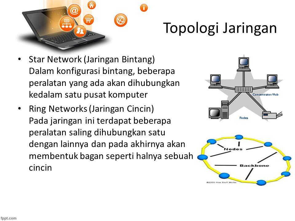 Topologi Jaringan Star Network (Jaringan Bintang) Dalam konfigurasi bintang, beberapa peralatan yang ada akan dihubungkan kedalam satu pusat komputer Ring Networks (Jaringan Cincin) Pada jaringan ini terdapat beberapa peralatan saling dihubungkan satu dengan lainnya dan pada akhirnya akan membentuk bagan seperti halnya sebuah cincin