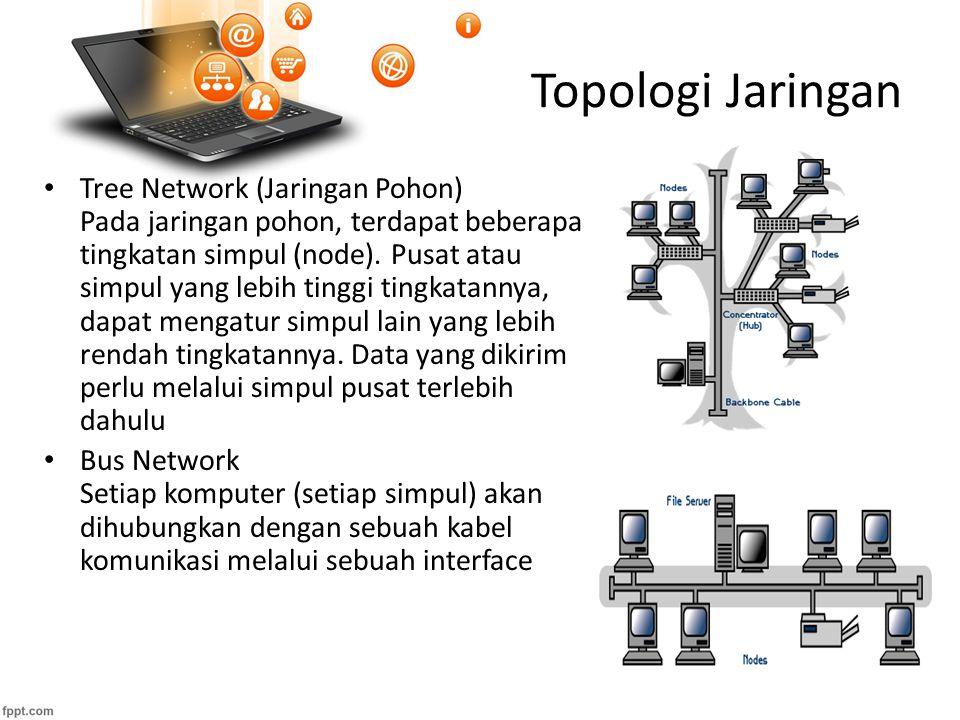 Topologi Jaringan Tree Network (Jaringan Pohon) Pada jaringan pohon, terdapat beberapa tingkatan simpul (node).