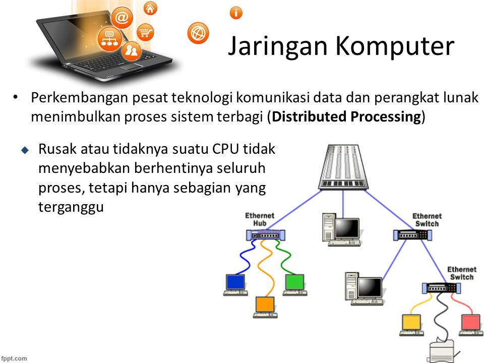 Jaringan Komputer MANFAAT JARINGAN KOMPUTER a.Pemakaian peralatan secara bersama (Hardware sharing) b.Hubungan Antar Sistem Yang Berbeda komputer berbeda merk dan sistem operasi berbeda