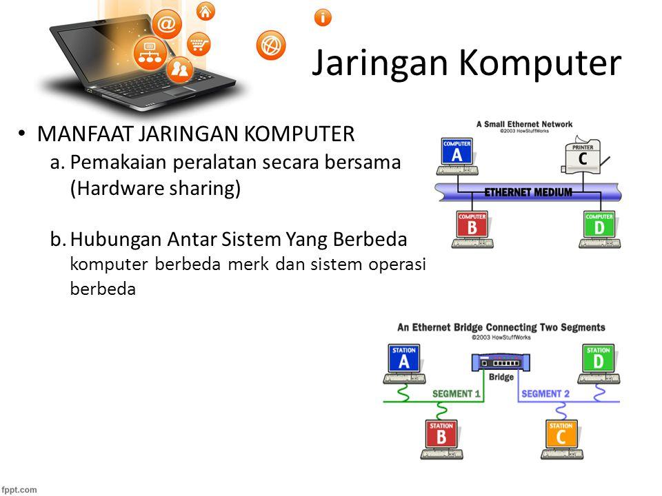 Jaringan Komputer c.Pemakaian data secara bersama Memungkinkan pengiriman file dari system yang satu ke sistem yang lain  memudahkan penggunaan data dan program secara bersama d.Pengurangan kertas kerja Dokumen-dokumen tersimpan dalam suatu file database