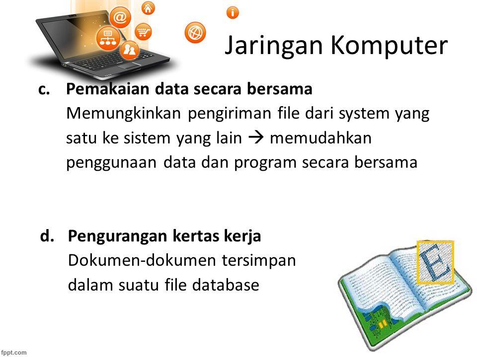 Jaringan Komputer f.Kemudahan mendapat informasi Informasi dapat segera diperoleh dalam waktu sangat singkat, walaupun dari tempat berjauhan.