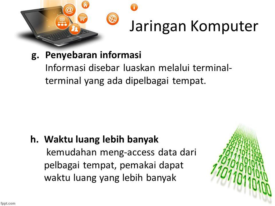 Jaringan Komputer h.Waktu luang lebih banyak kemudahan meng-access data dari pelbagai tempat, pemakai dapat waktu luang yang lebih banyak g.Penyebaran informasi Informasi disebar luaskan melalui terminal- terminal yang ada dipelbagai tempat.