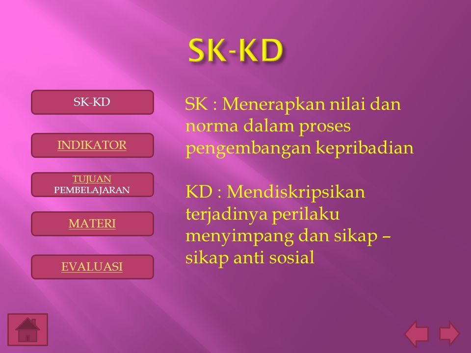 SK : Menerapkan nilai dan norma dalam proses pengembangan kepribadian KD : Mendiskripsikan terjadinya perilaku menyimpang dan sikap – sikap anti sosia