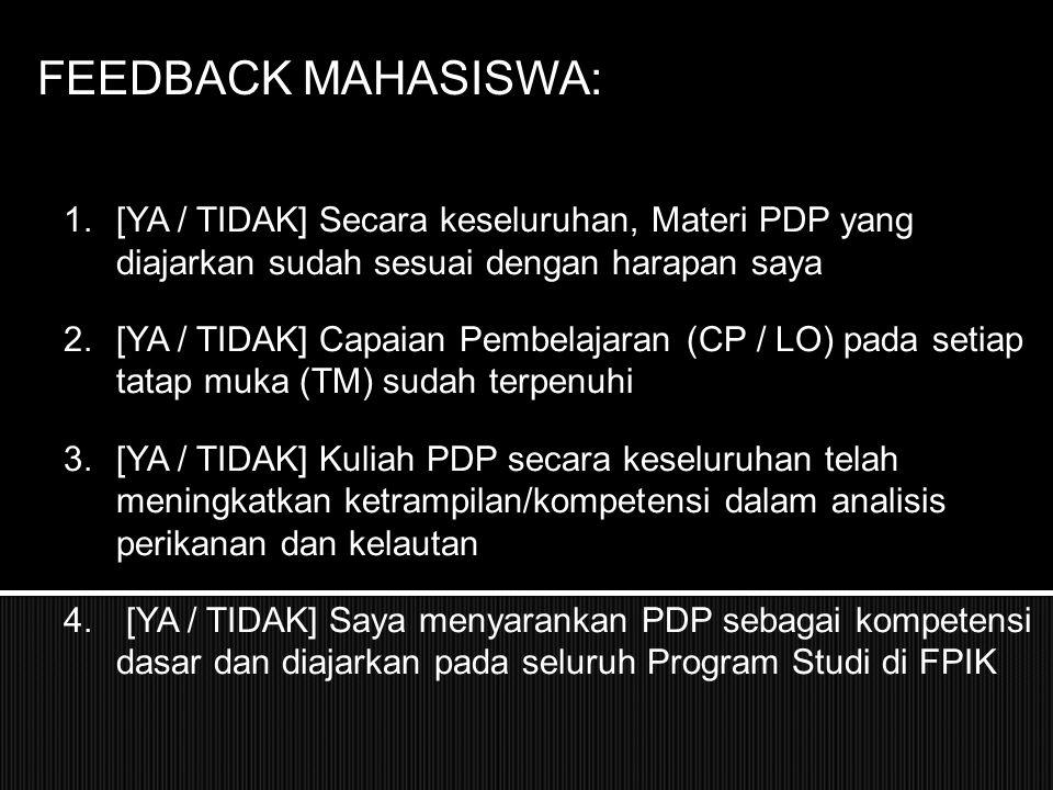 FEEDBACK MAHASISWA: 5.Menurut saya, materi Design Survei atau Form Survei (SL-1, SB-1, dll) A.Sangat jelas dan bermanfaat B.Jelas dan bermanfaat C.Kurang jelas D.Tidak jelas