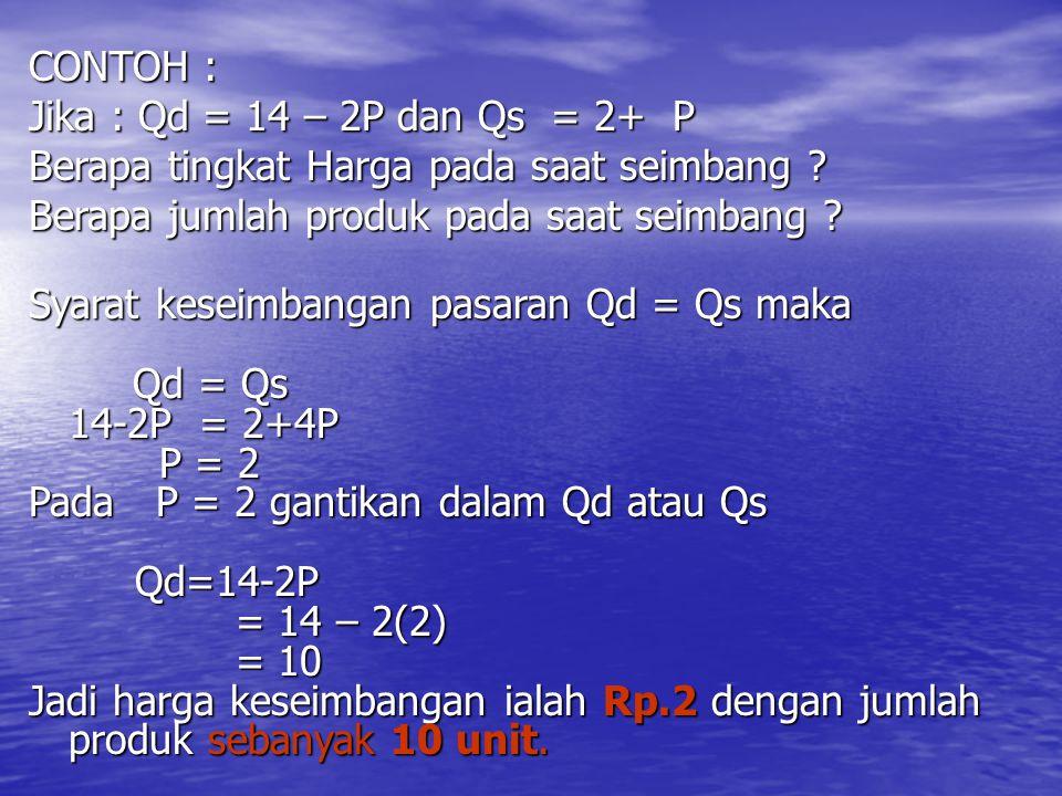 CONTOH : Jika : Qd = 14 – 2P dan Qs = 2+ P Berapa tingkat Harga pada saat seimbang ? Berapa jumlah produk pada saat seimbang ? Syarat keseimbangan pas