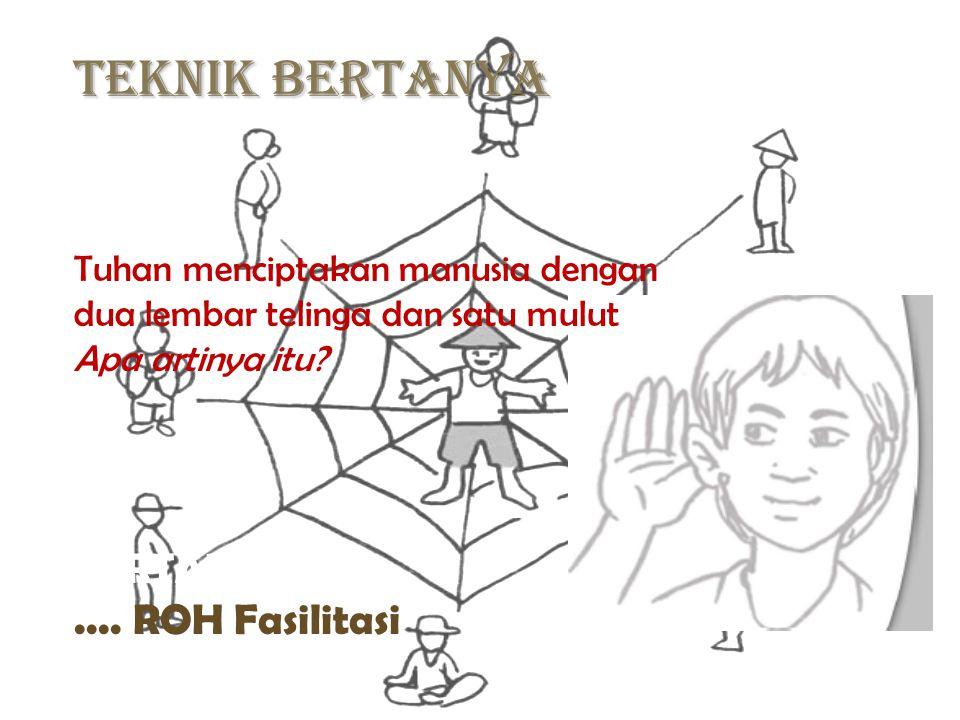 Teknik BERTANYA BERTANYA...?.... ROH Fasilitasi Tuhan menciptakan manusia dengan dua lembar telinga dan satu mulut Apa artinya itu?