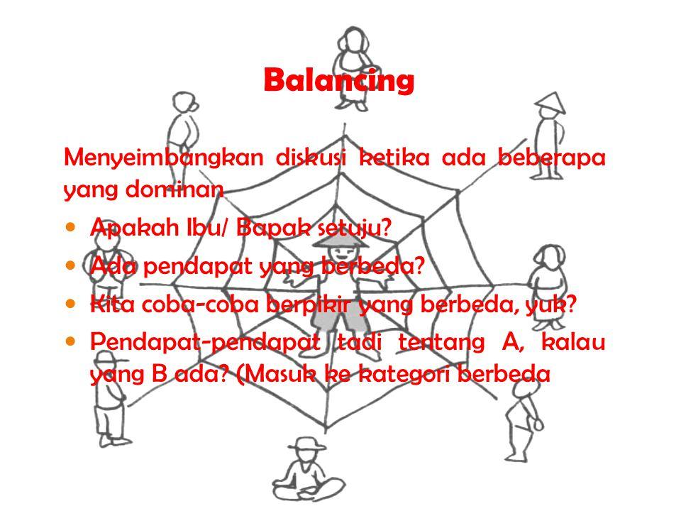 Balancing Menyeimbangkan diskusi ketika ada beberapa yang dominan Apakah Ibu/ Bapak setuju? Ada pendapat yang berbeda? Kita coba-coba berpikir yang be