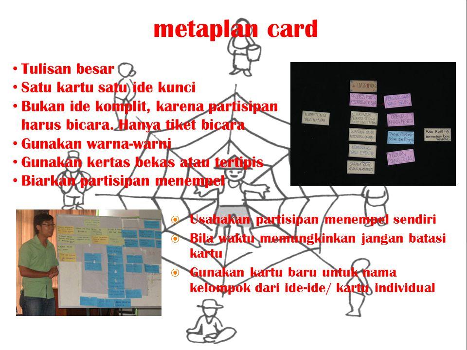 metaplan card  Usahakan partisipan menempel sendiri  Bila waktu memungkinkan jangan batasi kartu  Gunakan kartu baru untuk nama kelompok dari ide-i