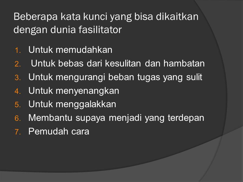 SIKAP BADAN FASILITATOR  TANGAN, jangan digerakkan liar dan tanpa arti.Buat orang Indonesia menuding atau menunjuk dengan telunjuk merupakan tindakan yang tidak sopan  LANGKAH, harus nampak mantap, bertujuan.Bukan gambaran orang yang sedang tegang