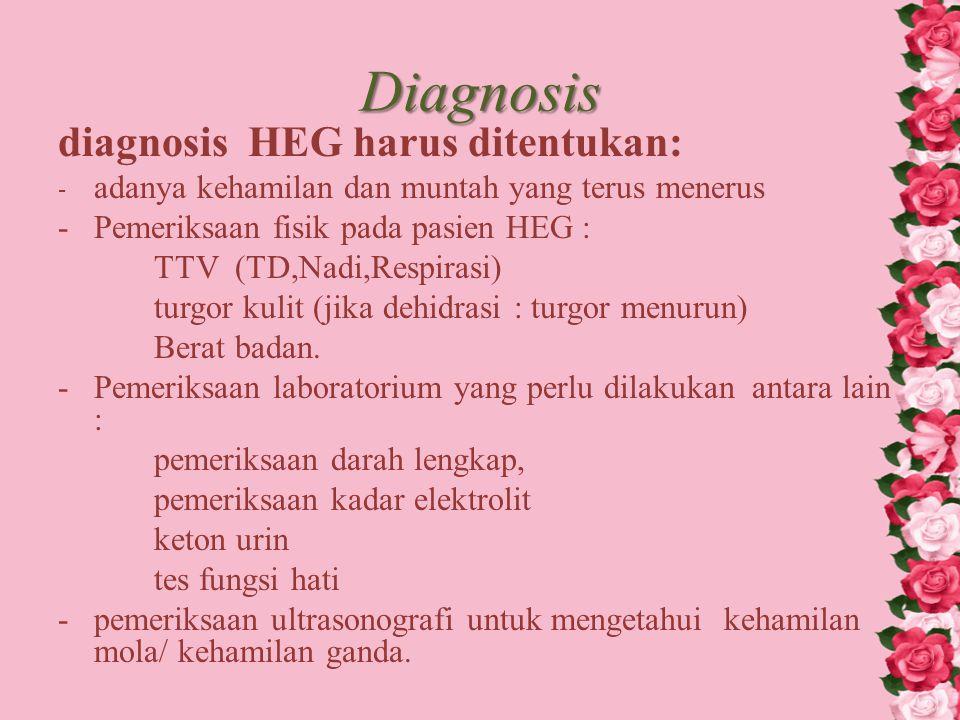 Diagnosis diagnosis HEG harus ditentukan: - adanya kehamilan dan muntah yang terus menerus -Pemeriksaan fisik pada pasien HEG : TTV (TD,Nadi,Respirasi