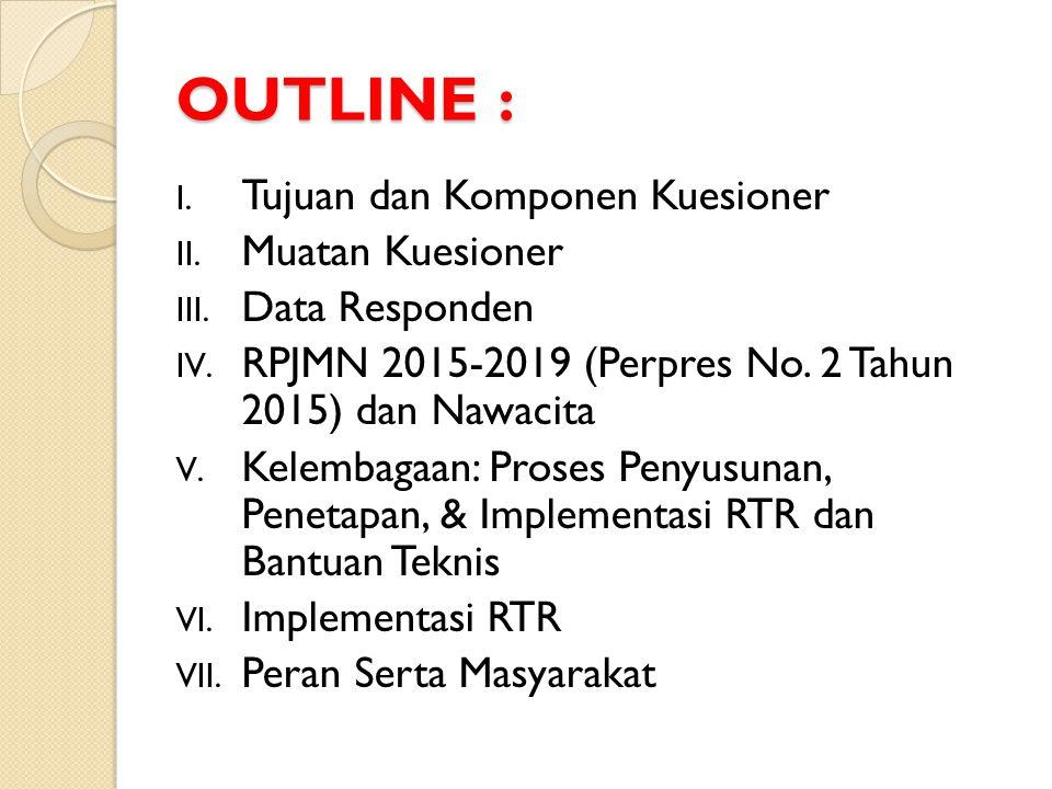 OUTLINE : I. Tujuan dan Komponen Kuesioner II. Muatan Kuesioner III. Data Responden IV. RPJMN 2015-2019 (Perpres No. 2 Tahun 2015) dan Nawacita V. Kel