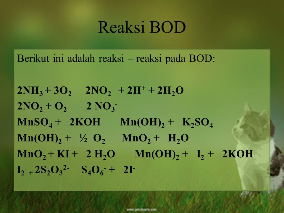 Reaksi BOD Berikut ini adalah reaksi – reaksi pada BOD: 2NH 3 + 3O 2 2NO 2 - + 2H + + 2H 2 O 2NO 2 + O 2 2 NO 3 - MnSO 4 + 2KOH Mn(OH) 2 + K 2 SO 4 Mn