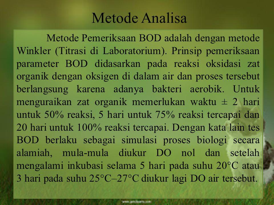 Metode Analisa Metode Pemeriksaan BOD adalah dengan metode Winkler (Titrasi di Laboratorium). Prinsip pemeriksaan parameter BOD didasarkan pada reaksi
