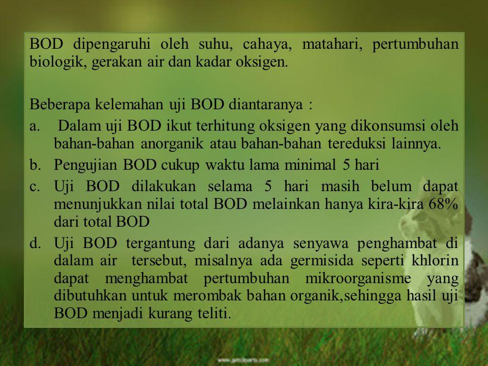 BOD dipengaruhi oleh suhu, cahaya, matahari, pertumbuhan biologik, gerakan air dan kadar oksigen. Beberapa kelemahan uji BOD diantaranya : a. Dalam uj