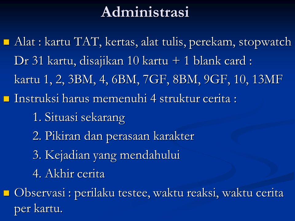 Administrasi Alat : kartu TAT, kertas, alat tulis, perekam, stopwatch Alat : kartu TAT, kertas, alat tulis, perekam, stopwatch Dr 31 kartu, disajikan
