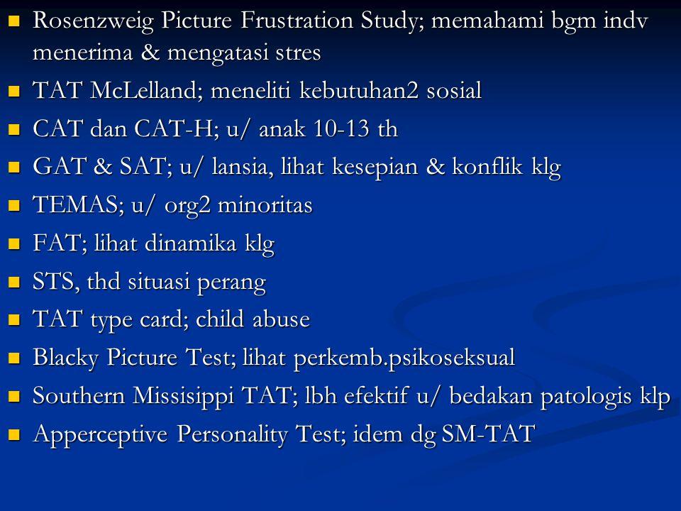 Rosenzweig Picture Frustration Study; memahami bgm indv menerima & mengatasi stres Rosenzweig Picture Frustration Study; memahami bgm indv menerima &