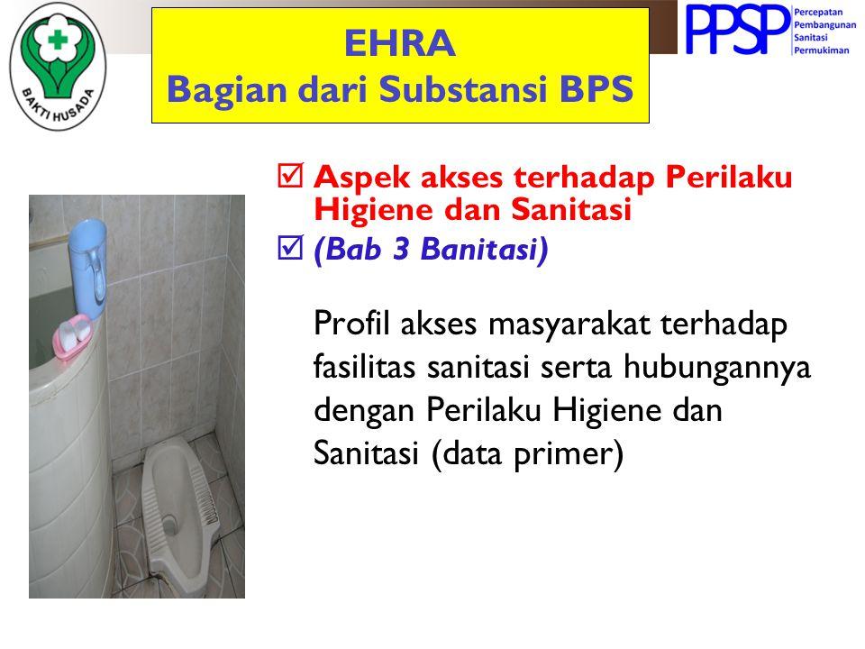 EHRA Bagian dari Substansi BPS  Aspek akses terhadap Perilaku Higiene dan Sanitasi  (Bab 3 Banitasi) Profil akses masyarakat terhadap fasilitas sani