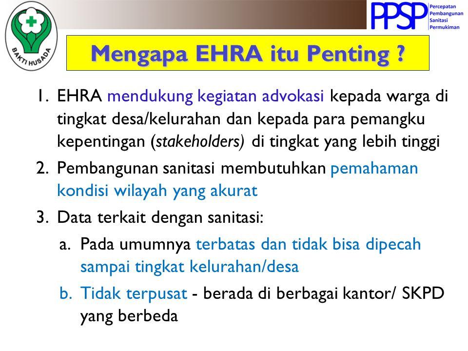 Mengapa EHRA itu Penting ? 1.EHRA mendukung kegiatan advokasi kepada warga di tingkat desa/kelurahan dan kepada para pemangku kepentingan (stakeholder