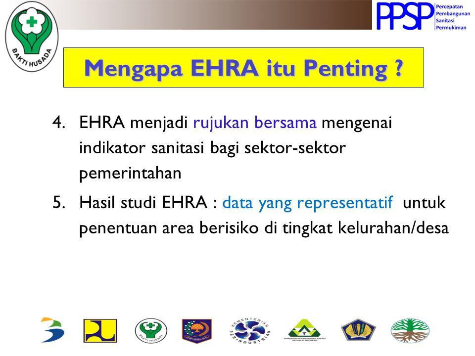 Mengapa EHRA itu Penting ? 4.EHRA menjadi rujukan bersama mengenai indikator sanitasi bagi sektor-sektor pemerintahan 5.Hasil studi EHRA : data yang r