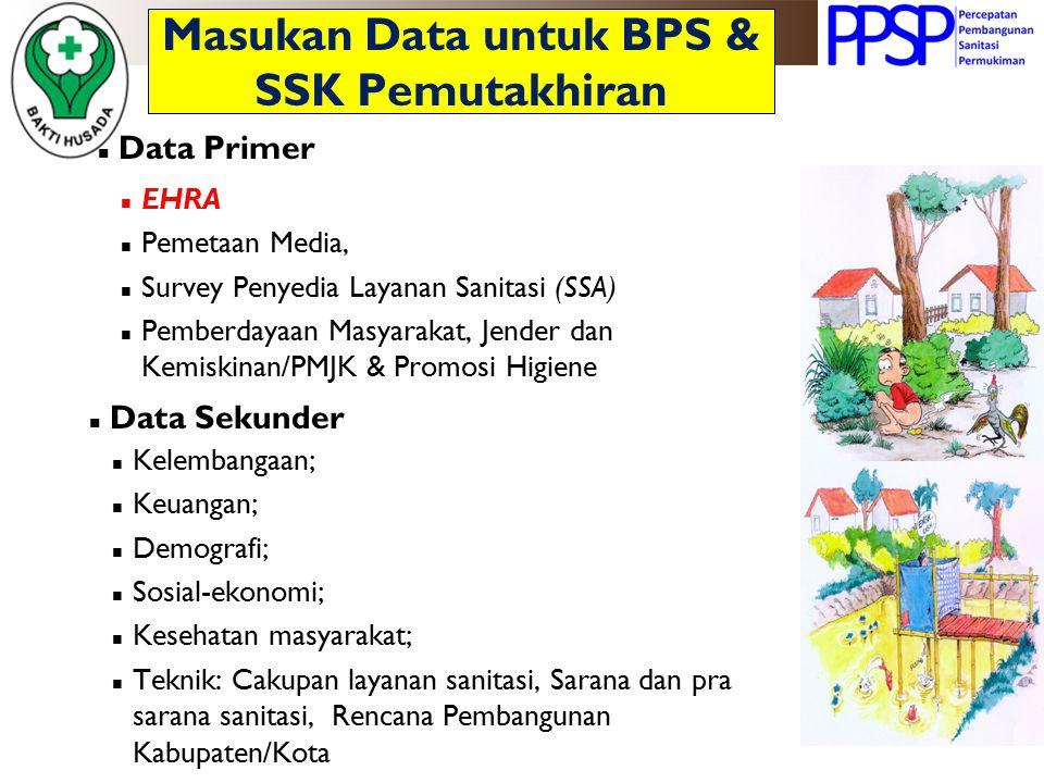 Masukan Data untuk BPS & SSK Pemutakhiran Data Primer Data Sekunder Kelembangaan; Keuangan; Demografi; Sosial-ekonomi; Kesehatan masyarakat; Teknik: C