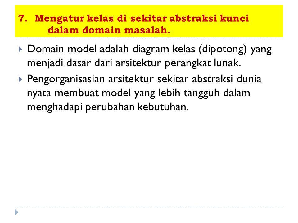 7. Mengatur kelas di sekitar abstraksi kunci dalam domain masalah.  Domain model adalah diagram kelas (dipotong) yang menjadi dasar dari arsitektur p