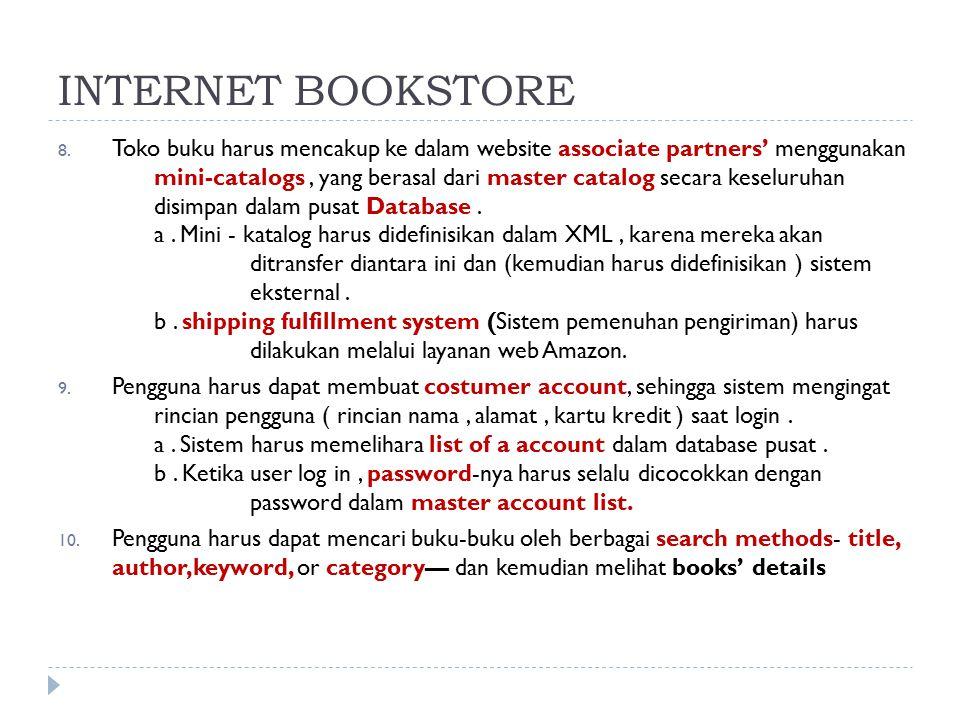 8. Toko buku harus mencakup ke dalam website associate partners' menggunakan mini-catalogs, yang berasal dari master catalog secara keseluruhan disimp