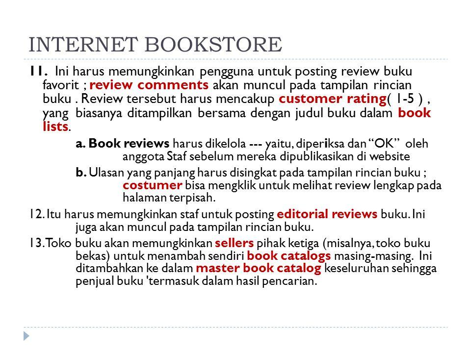 11. Ini harus memungkinkan pengguna untuk posting review buku favorit ; review comments akan muncul pada tampilan rincian buku. Review tersebut harus