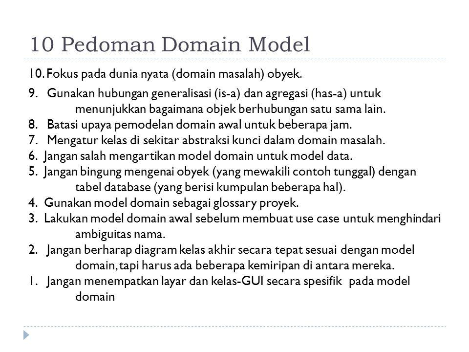 10 Pedoman Domain Model 10. Fokus pada dunia nyata (domain masalah) obyek. 9. Gunakan hubungan generalisasi (is-a) dan agregasi (has-a) untuk menunjuk