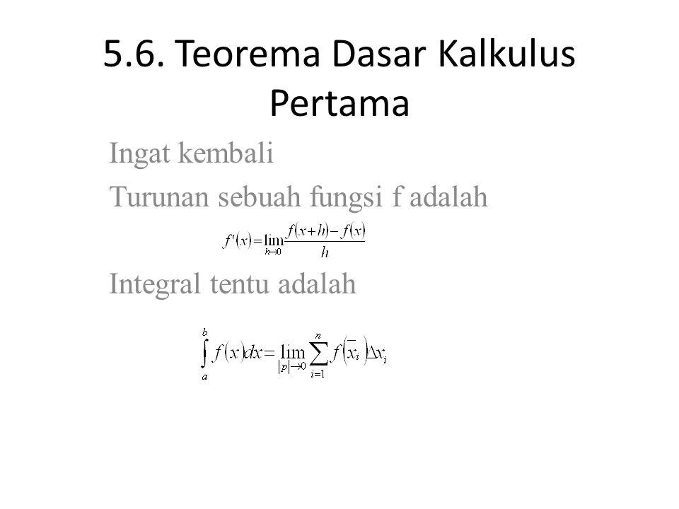 5.6. Teorema Dasar Kalkulus Pertama Ingat kembali Turunan sebuah fungsi f adalah Integral tentu adalah