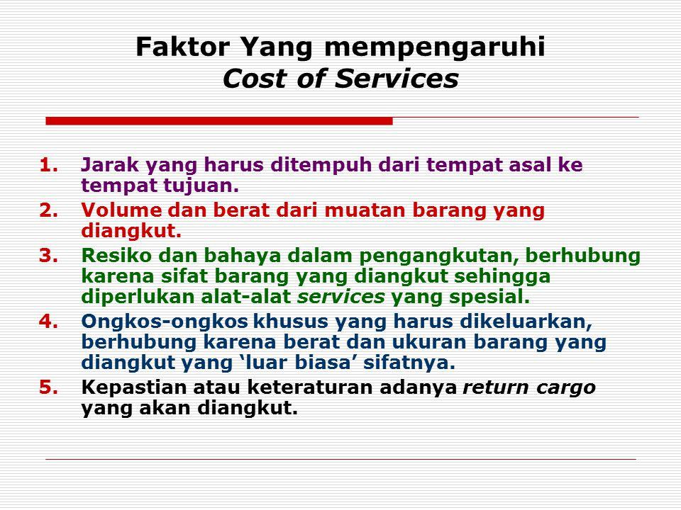 Faktor Yang mempengaruhi Cost of Services 1.Jarak yang harus ditempuh dari tempat asal ke tempat tujuan. 2.Volume dan berat dari muatan barang yang di