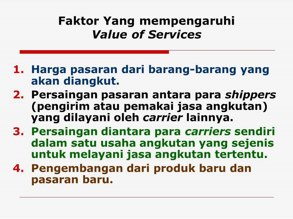 Faktor Yang mempengaruhi Value of Services 1.Harga pasaran dari barang-barang yang akan diangkut. 2.Persaingan pasaran antara para shippers (pengirim