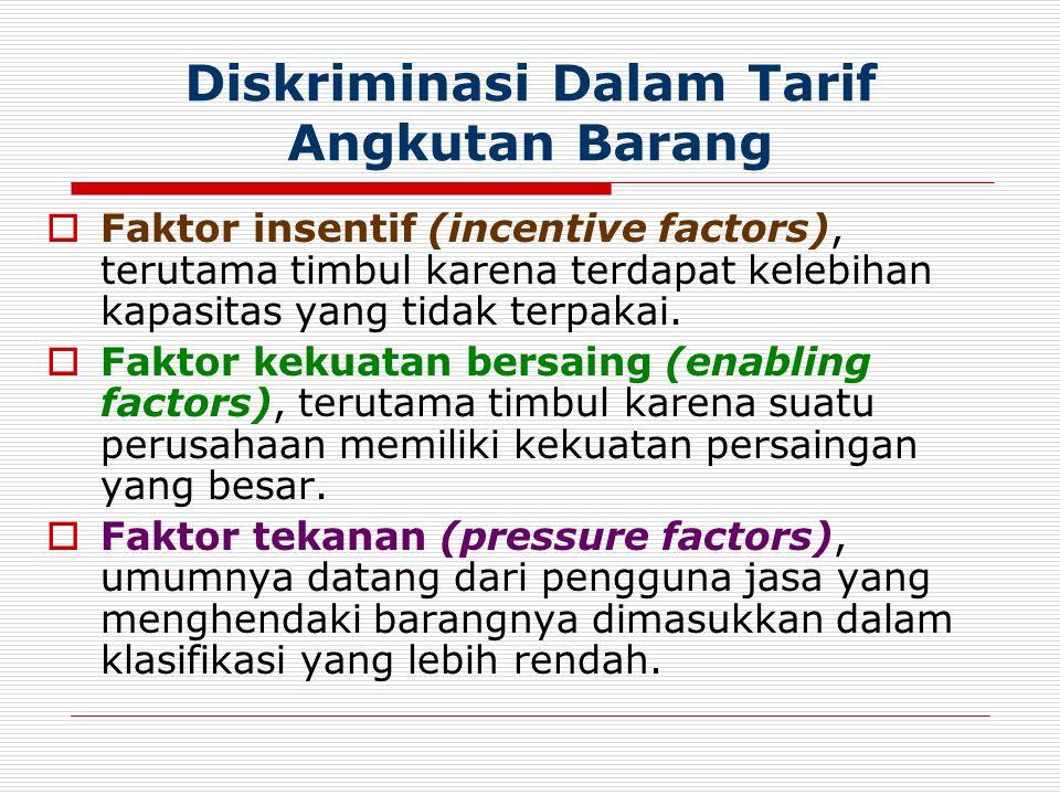 Diskriminasi Dalam Tarif Angkutan Barang  Faktor insentif (incentive factors), terutama timbul karena terdapat kelebihan kapasitas yang tidak terpaka