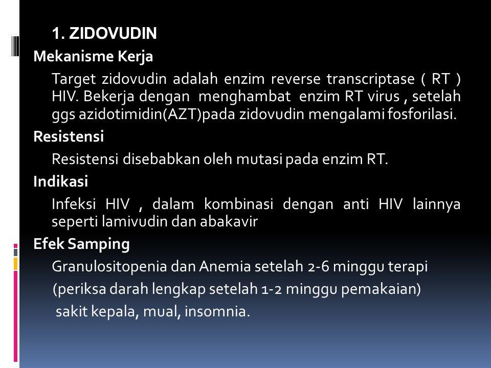 1.ZIDOVUDIN Mekanisme Kerja Target zidovudin adalah enzim reverse transcriptase ( RT ) HIV.