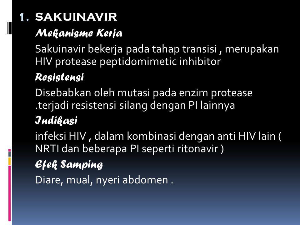 1. SAKUINAVIR Mekanisme Kerja Sakuinavir bekerja pada tahap transisi, merupakan HIV protease peptidomimetic inhibitor Resistensi Disebabkan oleh mutas