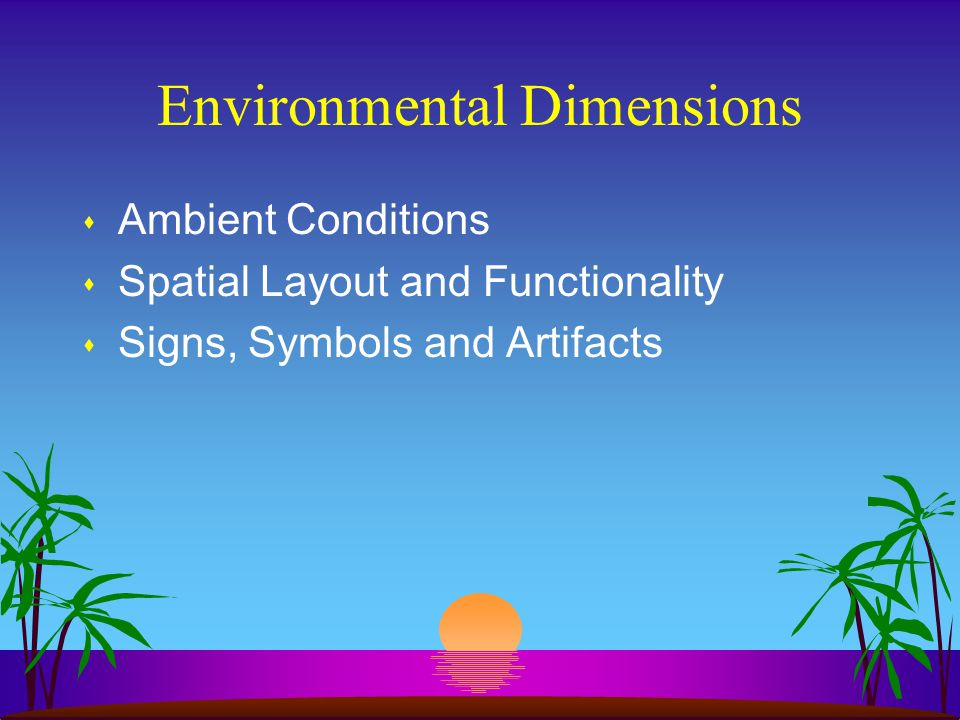 Environmental Dimensions s Ambient Conditions s Spatial Layout and Functionality s Signs, Symbols and Artifacts