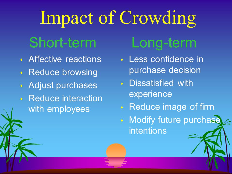 Impact of Crowding s Affective reactions s Reduce browsing s Adjust purchases s Reduce interaction with employees s Less confidence in purchase decisi