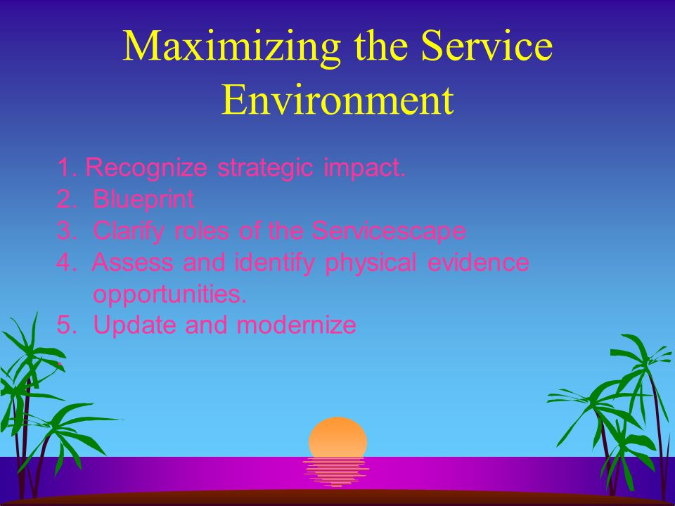 Maximizing the Service Environment 1. Recognize strategic impact. 2. Blueprint 3. Clarify roles of the Servicescape 4. Assess and identify physical ev