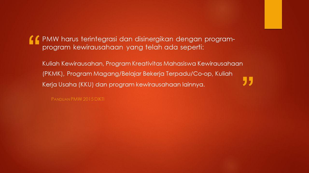 PMW harus terintegrasi dan disinergikan dengan program- program kewirausahaan yang telah ada seperti: Kuliah Kewirausahan, Program Kreativitas Mahasiswa Kewirausahaan (PKMK), Program Magang/Belajar Bekerja Terpadu/Co-op, Kuliah Kerja Usaha (KKU) dan program kewirausahaan lainnya.