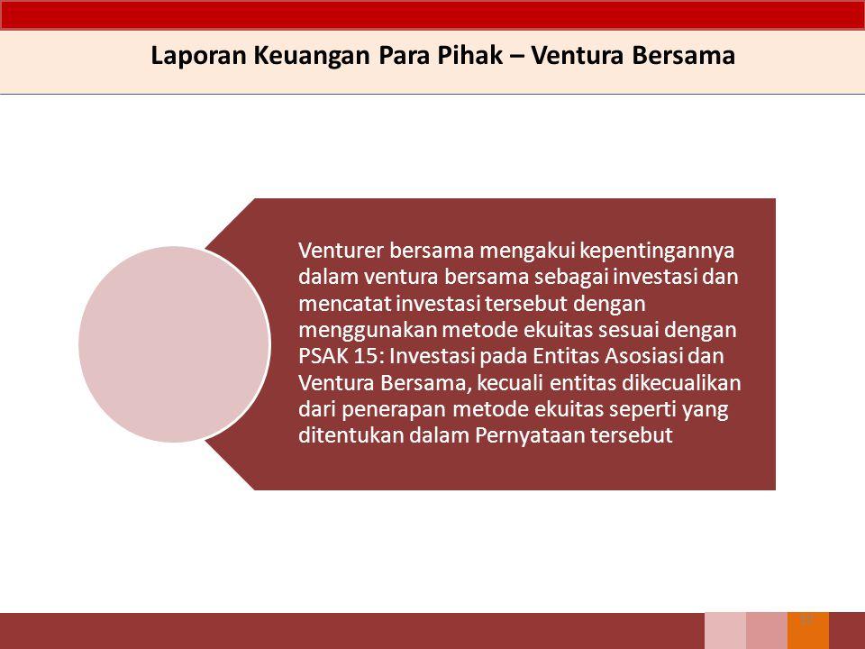 Laporan Keuangan Para Pihak – Ventura Bersama 10 Venturer bersama mengakui kepentingannya dalam ventura bersama sebagai investasi dan mencatat investa